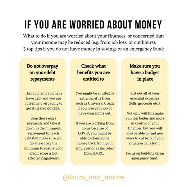 😰What to do right now if you are worried about money😰⠀⠀⠀⠀⠀⠀⠀⠀⠀ ⠀⠀⠀⠀⠀⠀⠀⠀⠀ Today we expect to hear the latest covid-related update from BJ and the worry about the economy and job security is ever-growing...⠀⠀⠀⠀⠀⠀⠀⠀⠀ ⠀⠀⠀⠀⠀⠀⠀⠀⠀ 🌟If you are worried about your financial situation right now, here are 3 things you can do right now to help: ⠀⠀⠀⠀⠀⠀⠀⠀⠀ ⠀⠀⠀⠀⠀⠀⠀⠀⠀ 1️⃣Do not overpay on your debt repayments⠀⠀⠀⠀⠀⠀⠀⠀⠀ ❌If you do not have any money saved in cash (in an ISA or easy-access savings account) as an emergency fund, this should be your priority. Reduce the amount you are paying towards your debt to the minimum repayments and focus on building up an emergency fund. ⠀⠀⠀⠀⠀⠀⠀⠀⠀ ⠀⠀⠀⠀⠀⠀⠀⠀⠀ 2️⃣Check what benefits you are entitled to ⠀⠀⠀⠀⠀⠀⠀⠀⠀ 💰There are different schemes and benefits that people are entitled to (for example if you lose your job, or you are a small business owner). Take a look on the .gov website to see if you are able to benefit from these in any way.⠀⠀⠀⠀⠀⠀⠀⠀⠀ ⠀⠀⠀⠀⠀⠀⠀⠀⠀ 3️⃣Make sure you have a budget in place⠀⠀⠀⠀⠀⠀⠀⠀⠀ 💡When you create a budget, you will feel more confident in handling the money you do have - it will help reduce some of that financial stress when you know the lay of the land. Also it helps you understand where you can cut back or make changes to your spending⠀⠀⠀⠀⠀⠀⠀⠀⠀ ⠀⠀⠀⠀⠀⠀⠀⠀⠀ ✨If you are really struggling and worried about your finances right now, and are a bit lost at what to do, please do drop me a DM ✨⠀⠀⠀⠀⠀⠀⠀⠀⠀ ⠀⠀⠀⠀⠀⠀⠀⠀⠀ #moneyhelp #moneysupport #budgeting #budget #emergencyfund #savings #savingstips #clearingdebt #moneyworries #moneystress #financialstress #moneyissues #moneycoach #financialhelp