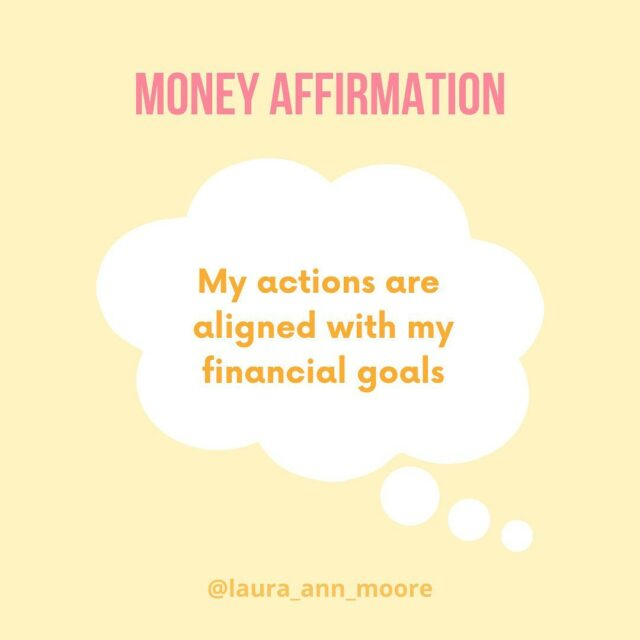 "✨MONDAY MONEY AFFIRMATION✨  ""My actions are aligned with my financial goals""  A few weeks ago, I posted about there being 100 days left of 2020 (and now there is only 82 days til Xmas 🎅 - crazy) and I said how it is the perfect time to review your financial goals  🌟 Is there anything new you want to achieve? 🌟 Are there any goal you are still working on? 🌟 Which goals do you need to update?  To stay on track and stay motivated, we need to make sure our daily actions are aligned with those goals because sometimes we do things that take us further away from them (without even realising!)  This affirmation helps you acknowledge areas where your actions might NOT be aligned:  🤚🏼This could be pausing and taking extra time to think about a purchase before we make it (impulse buys get much easier to make the closer we get to Xmas)  🙅🏼‍♀️Or checking in with ourselves to make sure we are not self-sabotaging our financial progress (this is common when you are changing your relationship with money)  Whether it is your spending habits, the amount of time you put aside to work on your budget, not looking in your bank account, dipping into savings for purchases you don't care about... all these things make a difference  It is not easy just to 'stop' doing these things but the first step is to know that these actions could be damaging and then taking small steps to change them✨  #moneyquote #affirmation #financialliteracy #financialeducation #2020goals #financialgoals #moneygoals #savinggoals #thoughts #moneybeliefs #affirmations #moneymatters #moneyblog #personalfinanceforwomen #moneyblog #moneyblogger"