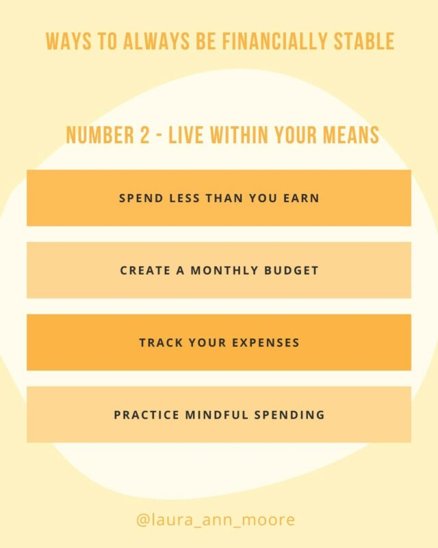 💡Tips on how to always be financially stable - PART TWO⠀⠀⠀⠀⠀⠀⠀⠀⠀ ⠀⠀⠀⠀⠀⠀⠀⠀⠀ ✨Following on from my 6 top tips, I am going to dive deeper into each one and number two is learning to LIVE WITHIN YOUR MEANS💰⠀⠀⠀⠀⠀⠀⠀⠀⠀ ⠀⠀⠀⠀⠀⠀⠀⠀⠀ 1️⃣ You need to spend less than what you earn. It sounds simple but many factors can complicate this calculation... maybe your fixed expenses are too high, you have a low income, you get paid weekly and get confused by monthly bills⠀⠀⠀⠀⠀⠀⠀⠀⠀ ⠀⠀⠀⠀⠀⠀⠀⠀⠀ The best thing to do is...⠀⠀⠀⠀⠀⠀⠀⠀⠀ ⠀⠀⠀⠀⠀⠀⠀⠀⠀ 2️⃣Create a monthly budget -  I am all about the budgeting  because it is the most helpful tool to manage your money. There is another post coming next that explains ⠀⠀⠀⠀⠀⠀⠀⠀⠀ how to create a budget to help you live within your means...⠀⠀⠀⠀⠀⠀⠀⠀⠀ ⠀⠀⠀⠀⠀⠀⠀⠀⠀ (Also to download my free monthly budget planner, tap on the link in my bio!)⠀⠀⠀⠀⠀⠀⠀⠀⠀ ⠀⠀⠀⠀⠀⠀⠀⠀⠀ 3️⃣Track your expenses. You need to know how much it costs to BE YOU. How much do you spend on groceries, travel, and eating out. Where do you spend most money, least money? ⠀⠀⠀⠀⠀⠀⠀⠀⠀ ⠀⠀⠀⠀⠀⠀⠀⠀⠀ By tracking where and how you spend your money, you can make sure you are only spending money on the things you can actually afford⠀⠀⠀⠀⠀⠀⠀⠀⠀ ⠀⠀⠀⠀⠀⠀⠀⠀⠀ 4️⃣Practice mindful spending - a personal fav of mine. Check in with yourself, why are you making a purchase, ask yourself the questions to make sure what you are buying aligns not only with your financial goals but also with the money you have available to you!⠀⠀⠀⠀⠀⠀⠀⠀⠀ ⠀⠀⠀⠀⠀⠀⠀⠀⠀ ✨YOU GOT THIS✨⠀⠀⠀⠀⠀⠀⠀⠀⠀ ⠀⠀⠀⠀⠀⠀⠀⠀⠀ #emergenyfund #financialstability #financialeducation #moneymatters #moneyblog #moneyblogger #debtfree #budgeting #budgetlife #budgetingtips #moneysaving #savingtips #savingmore #finacialsecutiry #adulting #financialwellbeing #personalfinance #moneyhelp