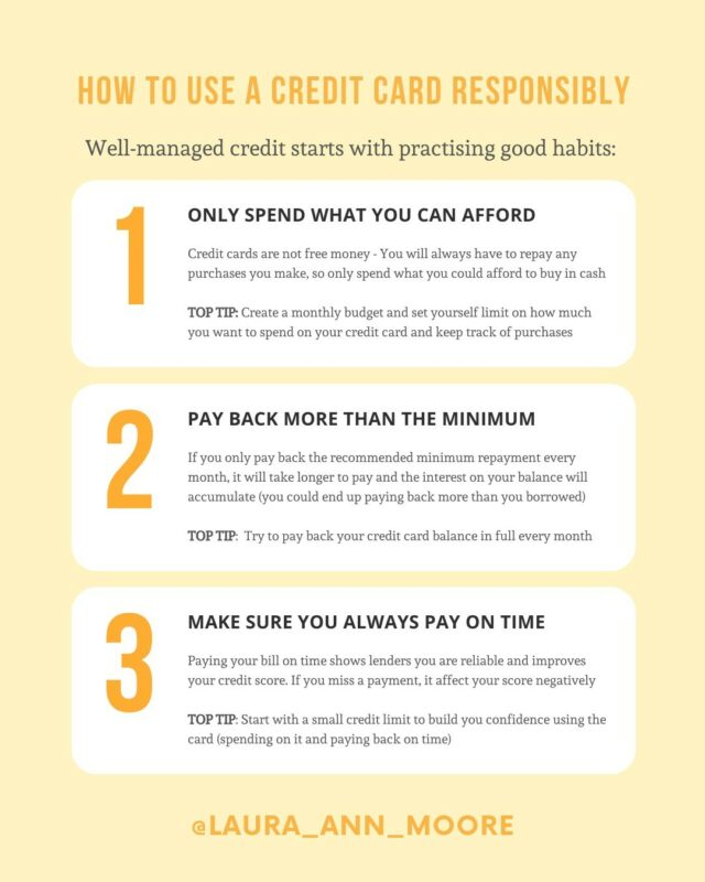 How to use a credit card responsibly:⠀⠀⠀⠀⠀⠀⠀⠀⠀ ⠀⠀⠀⠀⠀⠀⠀⠀⠀ When it comes to getting a credit card, the best thing to do is to really understand HOW to use it so that you can enjoy the benefits⠀⠀⠀⠀⠀⠀⠀⠀⠀ ⠀⠀⠀⠀⠀⠀⠀⠀⠀ 💰 Only spend what you can afford⠀⠀⠀⠀⠀⠀⠀⠀⠀ 💸 Pay back more than the minimum repayment⠀⠀⠀⠀⠀⠀⠀⠀⠀ ⏰ Make sure you always pay on time⠀⠀⠀⠀⠀⠀⠀⠀⠀ ⠀⠀⠀⠀⠀⠀⠀⠀⠀ Taking the time to understand and learn these good habits will give you a financial advantage that you can benefit from throughout your life and implement these practices from DAY ONE of having your credit card 💳 ⠀⠀⠀⠀⠀⠀⠀⠀⠀ ⠀⠀⠀⠀⠀⠀⠀⠀⠀ Along side this, practice mindful spending 🧠 Before making purchases on your card ask yourself questions:⠀⠀⠀⠀⠀⠀⠀⠀⠀ ⠀⠀⠀⠀⠀⠀⠀⠀⠀ 1️⃣ Is this worth the money I am about to pay?⠀⠀⠀⠀⠀⠀⠀⠀⠀ 2️⃣ Does this take me closer or further away from my goals?⠀⠀⠀⠀⠀⠀⠀⠀⠀ 3️⃣ Am I buying this to cope emotionally?⠀⠀⠀⠀⠀⠀⠀⠀⠀ 4️⃣ Will I actually use this/do I have anything like this already?⠀⠀⠀⠀⠀⠀⠀⠀⠀ 5️⃣ What are the extra hidden costs?⠀⠀⠀⠀⠀⠀⠀⠀⠀ ⠀⠀⠀⠀⠀⠀⠀⠀⠀ ❗️The more aware you are of your purchases, the ⠀⠀⠀⠀⠀⠀⠀⠀⠀ better you will be at managing your money and staying in control of your own spending ❗️⠀⠀⠀⠀⠀⠀⠀⠀⠀ ⠀⠀⠀⠀⠀⠀⠀⠀⠀ Do you currently follow these practices?⠀⠀⠀⠀⠀⠀⠀⠀⠀ ⠀⠀⠀⠀⠀⠀⠀⠀⠀ @laura_ann_moore 💰🌟⠀⠀⠀⠀⠀⠀⠀⠀⠀ ⠀⠀⠀⠀⠀⠀⠀⠀⠀ #moneymatters #creditcard #ukfinfluencers #moneyblog #credit #financialliteracy #financialeducation #moneyblogger #personalfinance #moneytips